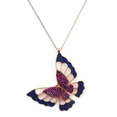 Beyazıt Takı 925 Ayar Gümüş Mavi Pembe Üç Boyutlu Kelebek Kolyesi