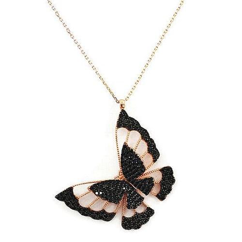 Beyazıt Takı 925 Ayar Gümüş Siyah Üç Boyutlu Kelebek Kolyesi