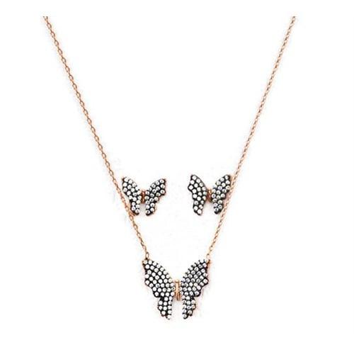 Beyazıt Takı 925 Ayar Gümüş Beyaz Kelebek Küpe Kolye Set
