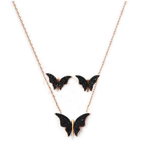 Beyazıt Takı 925 Ayar Gümüş Siyah Kelebek Küpe Kolye Set