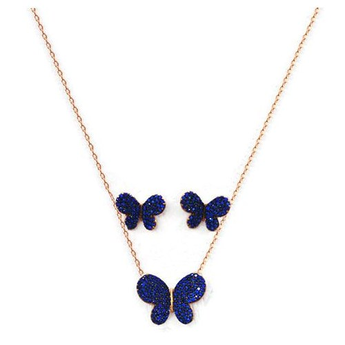 Beyazıt Takı 925 Ayar Gümüş Mavi Taşlı Kelebek Küpe Set