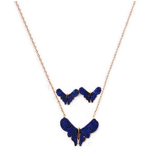 Beyazıt Takı 925 Ayar Gümüş Mavi Kelebek Küpe Kolye Seti