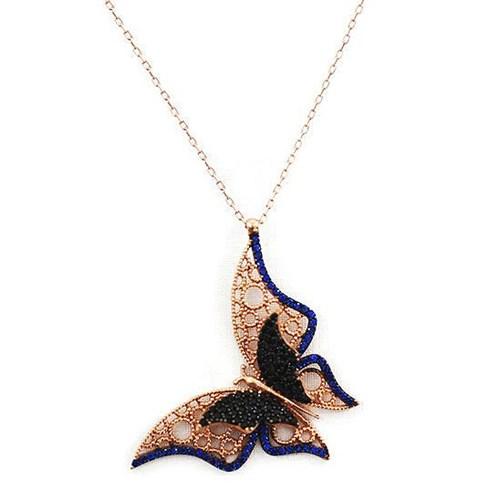 Beyazıt Takı 925 Ayar Gümüş Mavi Siyah Üç Boyutlu Fantazi Taşlı Kelebek Kolyesi