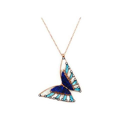 Beyazıt Takı 925 Ayar Gümüş 3 Boyutlu Mavi Taşlı Kelebek Kolyesi