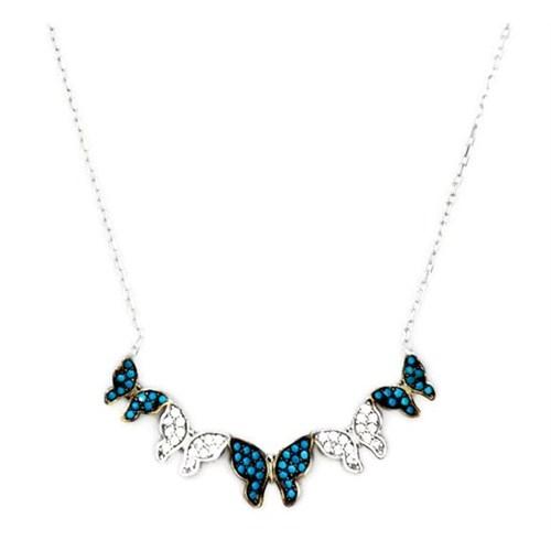 Beyazıt Takı 925 Ayar Gümüşturkuaz Beyaz Kelebek Kolye