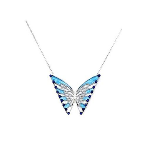 Beyazıt Takı 925 Ayar Gümüş Mavi Taşlı Kelebek Kolye