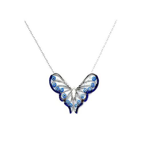 Beyazıt Takı 925 Ayar Gümüş Mavi Nazar Boncuklu Kelebek Kolye