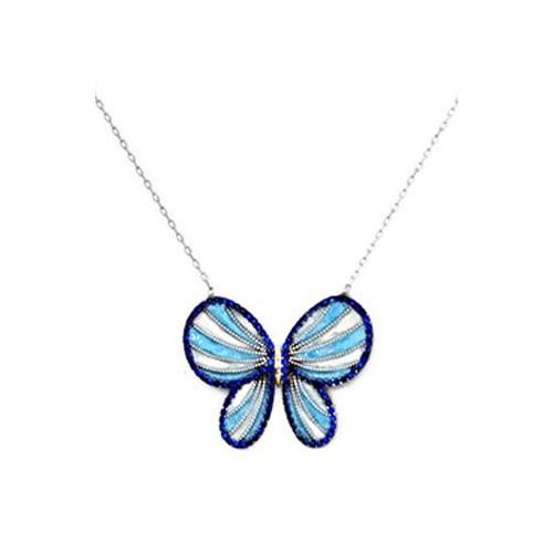 Beyazıt Takı 925 Ayar Gümüş Mavi Kelebek Kolye