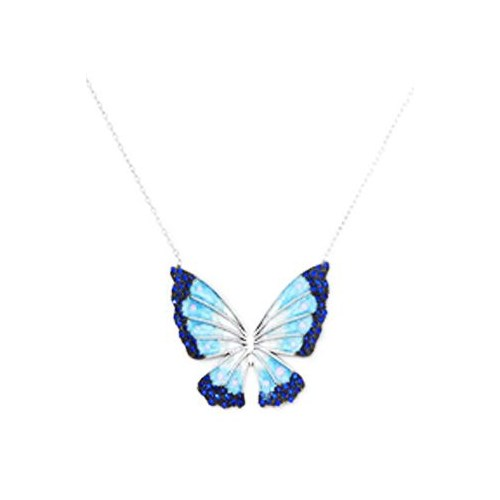 Beyazıt Takı 925 Ayar Gümüş Mavi Kelebek Kolyesi