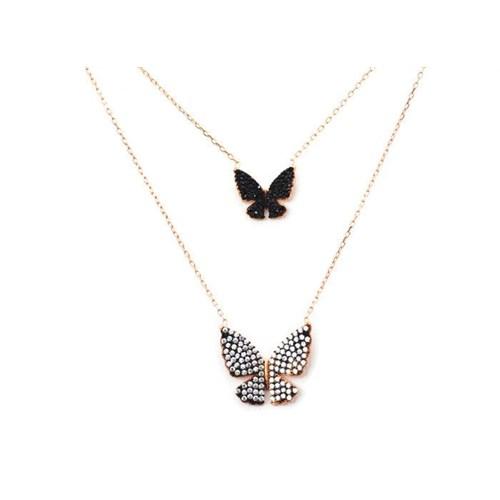 Beyazıt Takı 925 Ayar Gümüş Siyah Beyaz İkili Kelebek Kolye