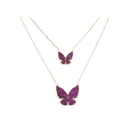 Beyazıt Takı 925 Ayar Gümüş Pembe İkili Kelebek Kolye
