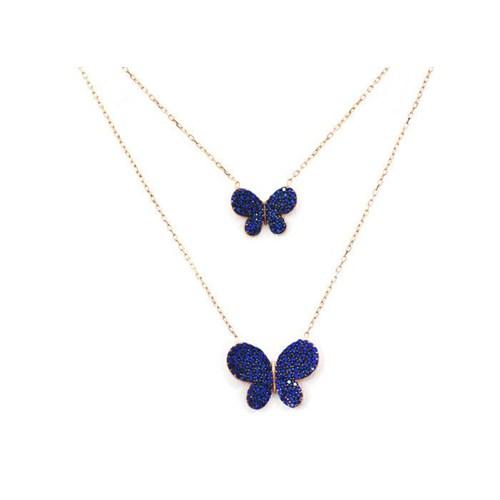 Beyazıt Takı 925 Ayar Gümüş Mavi İkili Kelebek Kolye