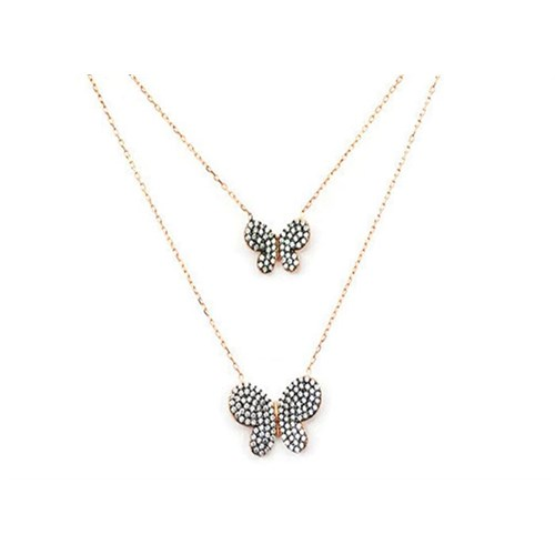 Beyazıt Takı 925 Ayar Gümüş Beyaz İkili Kelebek Kolye