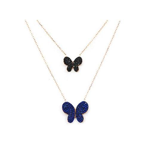 Beyazıt Takı 925 Ayar Gümüş Siyah Mavi İkili Kelebek Kolye
