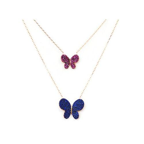 Beyazıt Takı 925 Ayar Gümüş Pembe Mavi İkili Kelebek Kolye