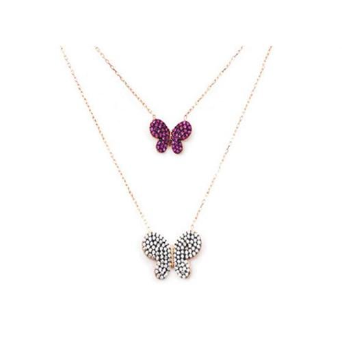 Beyazıt Takı 925 Ayar Gümüş Pembe Beyaz İkili Kelebek Kolye