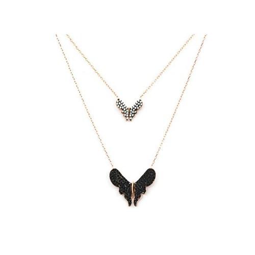 Beyazıt Takı 925 Ayar Gümüş Beyaz Siyah İkili Kelebek Kolye