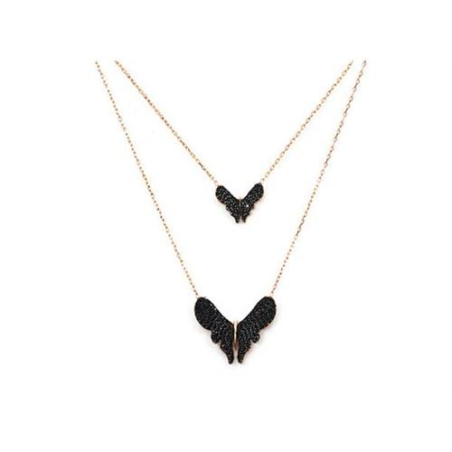 Beyazıt Takı 925 Ayar Gümüş Siyah İkili Kelebek Kolye