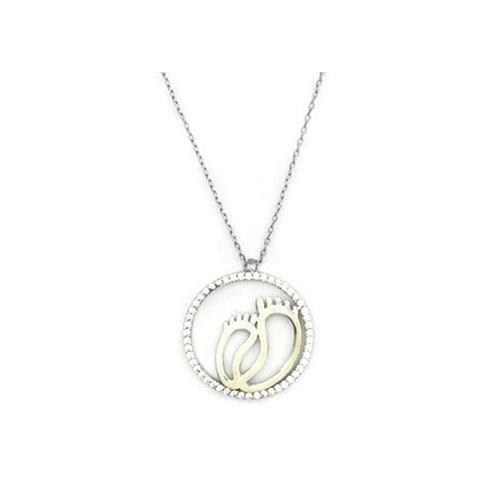 Beyazıt Takı 925 Ayar Gümüş Beyaz Anne Bebek Ayak İzi Kolye
