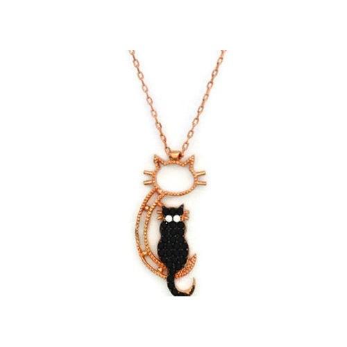 Beyazıt Takı 925 Ayar Gümüş Siyah Oturan Kedi Kolyesi