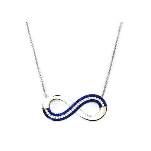 Beyazıt Takı 925 Ayar Gümüş Mavi Taşlı Sonsuzluk Kolye Modeli
