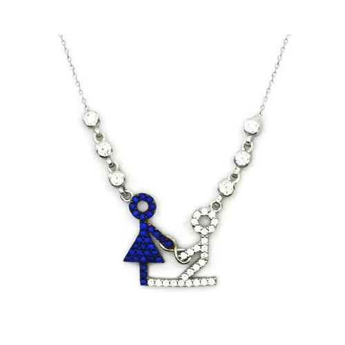 Beyazıt Takı 925 Ayar Gümüş Mavi Sevgili Kolyesi