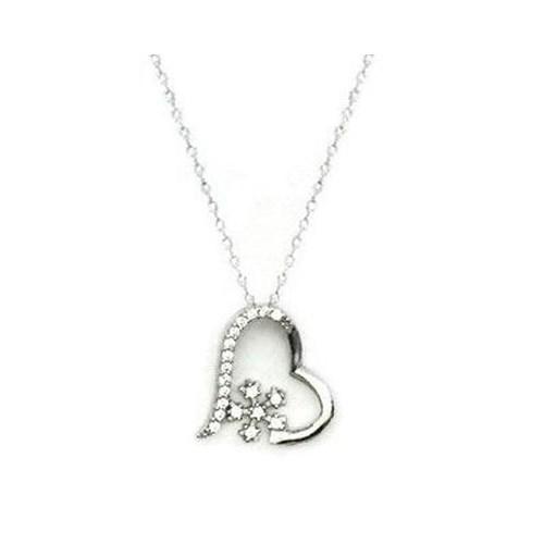Beyazıt Takı 925 Ayar Gümüş Beyaz Çiçekli Kalp Kolyesi