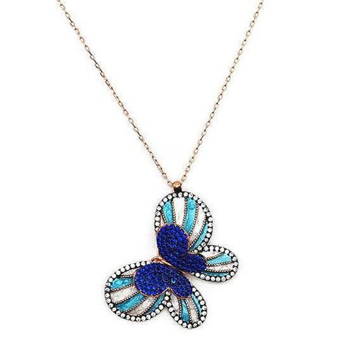 Beyazıt Takı 925 Ayar Gümüş Mavi Taşlı Mavi Mineli Üç Boyutlu Kelebek Kolyesi