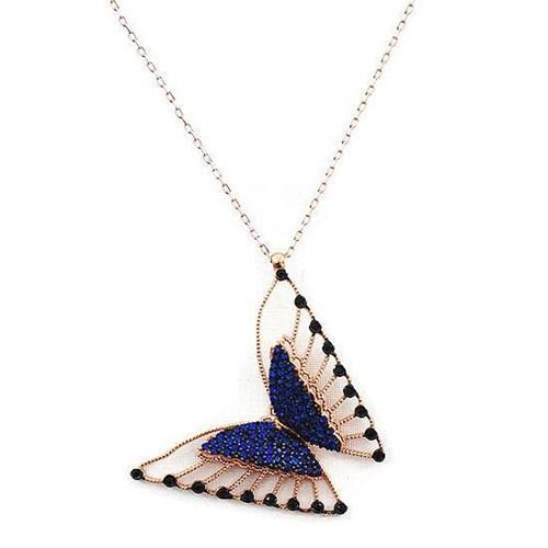 Beyazıt Takı 925 Ayar Gümüş Mavi Siyah Taşlı Üç Boyutlu Kelebek Kolyesi