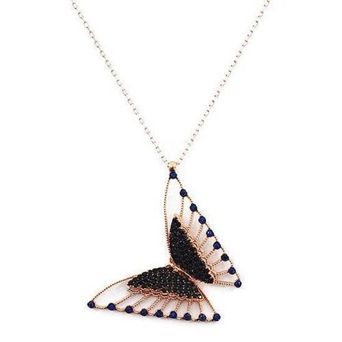 Beyazıt Takı 925 Ayar Gümüş Siyah Mavi Taşlı Üç Boyutlu Kelebek Kolyesi