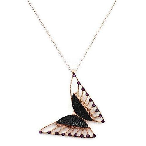 Beyazıt Takı 925 Ayar Gümüş Siyah Pembe Taşlı Üç Boyutlu Kelebek Kolyesi