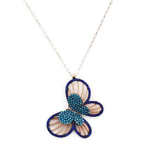 Beyazıt Takı 925 Ayar Gümüş Mavi Turkuaz Taşlı Üç Boyutlu Kelebek Kolyesi