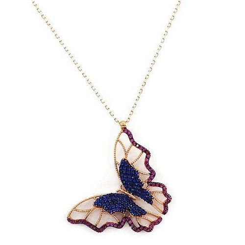 Beyazıt Takı 925 Ayar Gümüş Pembe Mavi Taşlı Üç Boyutlu Kelebek Kolyesi