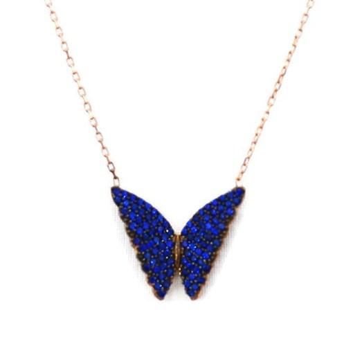 Beyazıt Takı 925 Ayar Gümüş Mavi Taşlı Kelebek Kolyesi