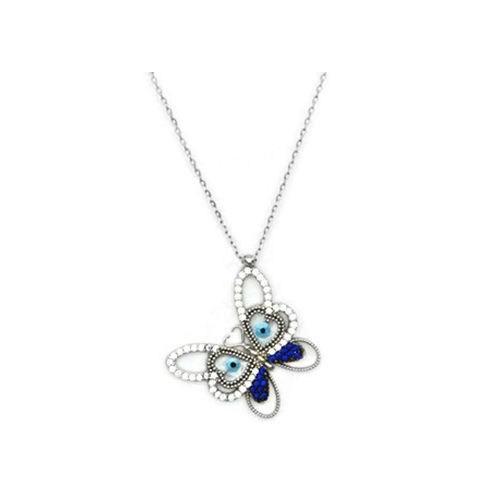 Beyazıt Takı 925 Ayar Gümüş Mavi Sedefli Kelebek Kolye