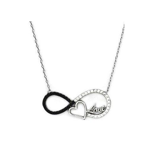 Beyazıt Takı 925 Ayar Gümüş Siyah Taşlı Love Yazılı Sonsuz Kalp Kolye
