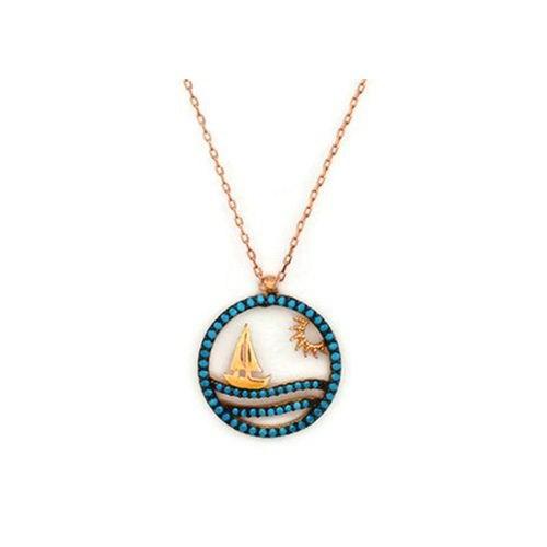 Beyazıt Takı 925 Ayar Gümüş Turkuaz Yelkenli Tekne Kolye
