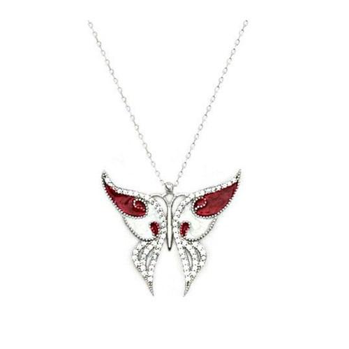 Beyazıt Takı Güneşin Kızları Kelebek Kolyesi Beyaz Taşlı
