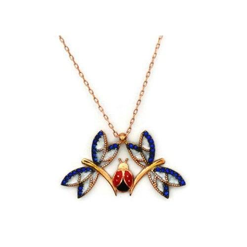 Beyazıt Takı 925 Ayar Gümüş Mavi Uğur Böcekli Yusufçuk Kolye