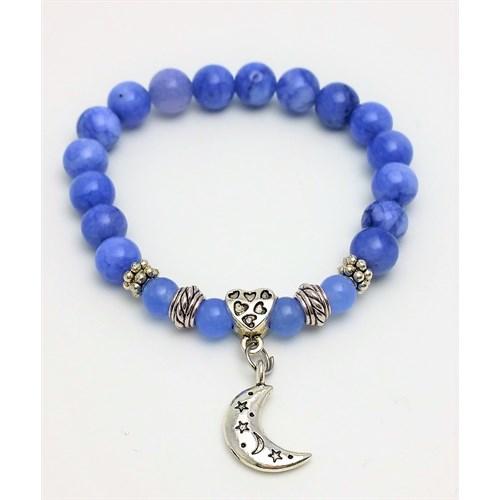 Cecilia Collection Mavi Akik Doğal Taş Bayan Bileklik