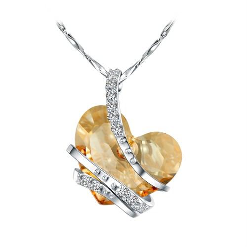 Monemel Bal Rengi Swarovski Taşlı Gümüş Kalp Kolye
