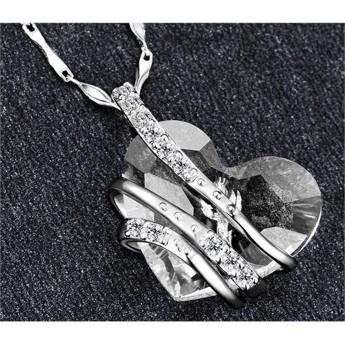 Monemel Şeffaf Swarovski® Taşlı Gümüş Kalp Kolye