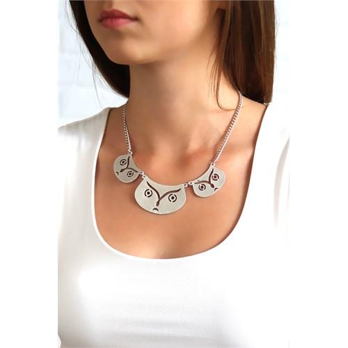 Chiccy Antik Gümüş Baykuş Metaller Kolye