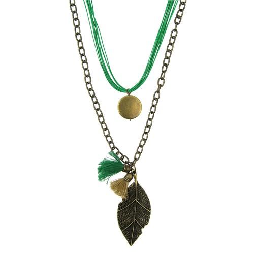 Chiccy Yeşil Mum İpler Antik Zincir İki Sıralı Yeşil Krem Püsküllü Uzun Yaprak Kolye