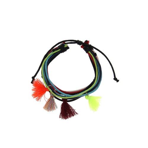 Chiccy Siyah Mavi Kırmızı Deri İpler Renkli Püsküller Kolye