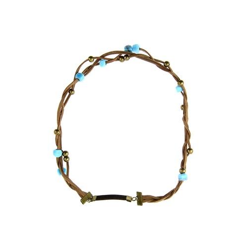 Chiccy Kahverengi Süetli Mavi Cam Boncuklu Saç Aksesuarı