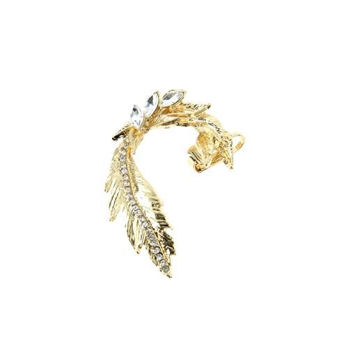 Chiccy Altın Kristalli Yaprak Kulak Aksesuarı
