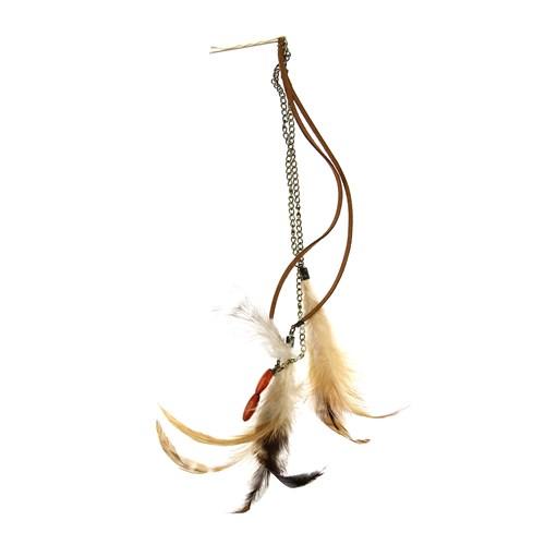 Chiccy Antik Zincirler Süet Deri İpler Kahverengi Tüyler Saç Aksesuarı