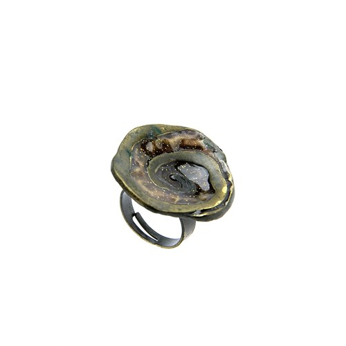 Chiccy Kahverengi Mineli Spiral Desenli Yüzük