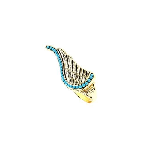 Chiccy Antik Sarı Mavi Taşlı Kanat Yüzük
